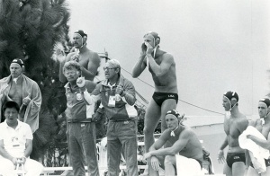 Players_and_coaches_urge_on_the_US_national_water_polo_team_during_an_Olympic_match_1984